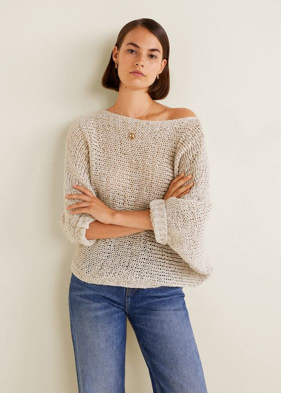 Mango Open-Knit Sweater - Light/Pastel Grey Xxs-Xs