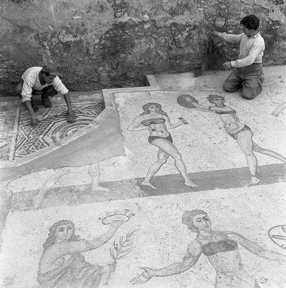 ancient rome spotted on mosaics thousands of years old these athletic ladies were rocking the very first bikinis although historians insist there is