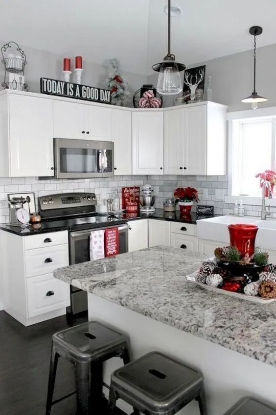 Stress Free Ways To Get Your Home Holiday Ready Classy Kitchen White Kitchen Decor Red Kitchen Decor