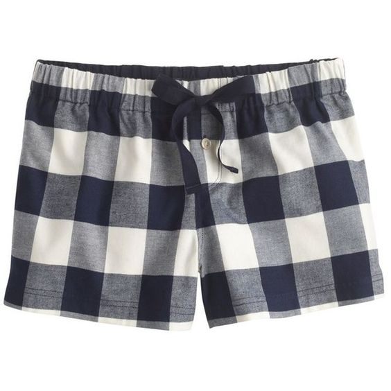 J.Crew Sleep short in buffalo check flannel ($30) ❤ liked on Polyvore featuring intimates, sleepwear, pajamas, shorts, bottoms, flannel pjs, short pajamas, j crew boxers, short sleepwear and buffalo plaid pajamas