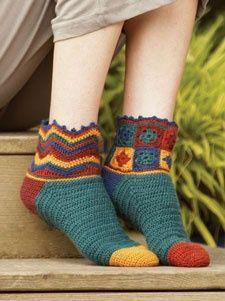 ♥♥♥ granny square crochet socks Free pattern.