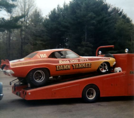 Plymouth Barracuda Funny Car on the ramp truck