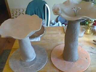 Channell Road Pottery, 2 of my favorite bird baths, came out beautiful in the end. Slab work, hand sculpting