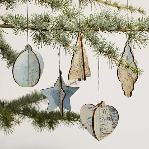 Decoupage #Christmas ornaments made from old maps.