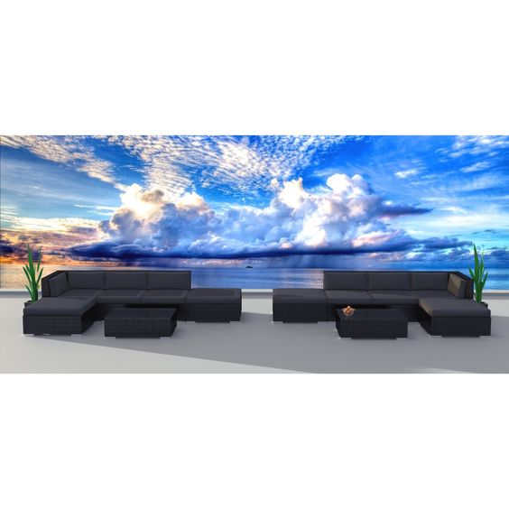 Urban Furnishing Series, Grey, Polyester, Wicker Outdoor Patio Sofa Sectional Couch Set