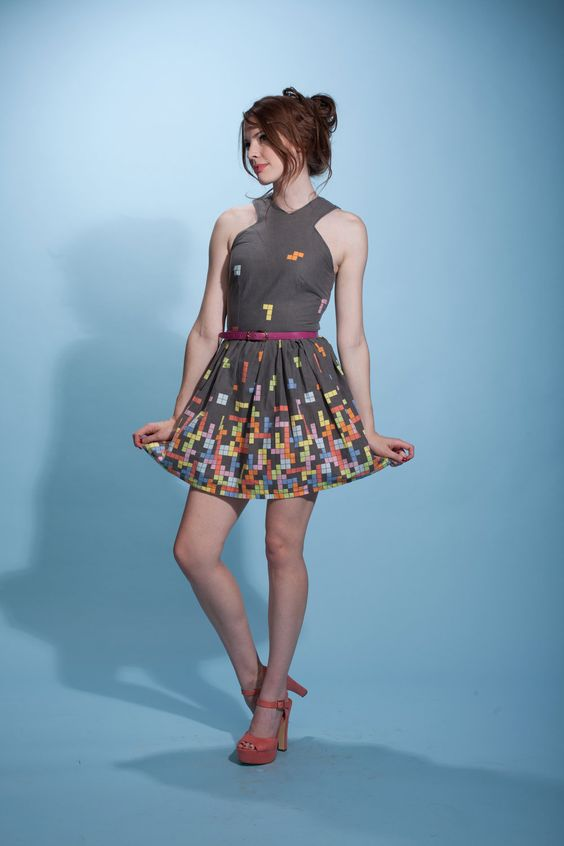 Be the star of the BLOCK party in this tetris dress. $90.00, via Etsy.