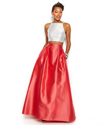 Xscape Contrast Halter Crop Top and Ball Skirt macy&-39-s - Promspo ...