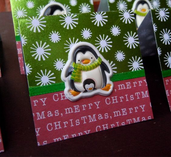 Merry Christmas Penguins Mini Cards or Gift Tags 2x2 (6) by PeculiarParchment on Etsy