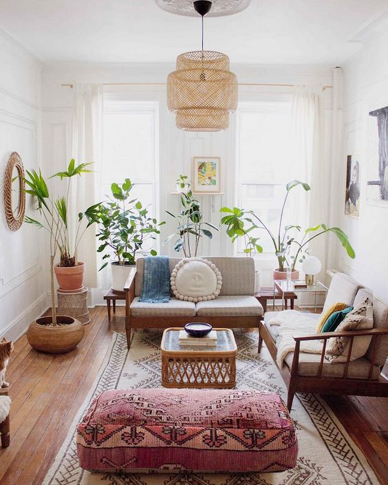 Beautiful and chic boho living room summer sunshine