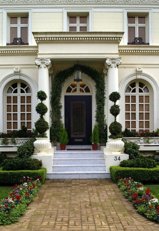 Triple Ball Boxwoods make an elegant addition to an entrance. Try our artificial versions....: