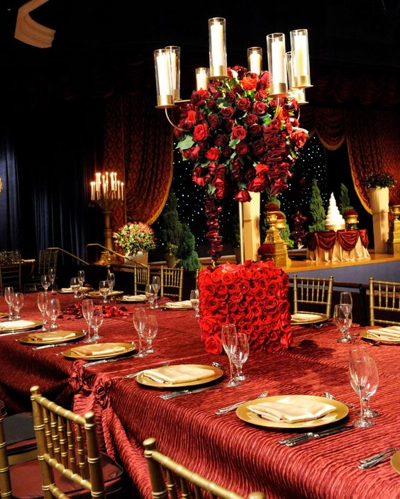 Red Wedding Ideas Reception: Beauty And The Beast Inspired Wedding Reception. #red