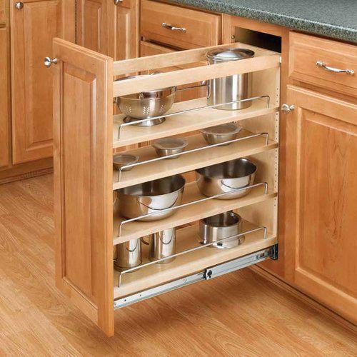 Omega National Products 24 Inch Corner Appliance Garage Red Oak A0100ouf1 Kitchen Base Cabinets Adjustable Shelving Rev A Shelf