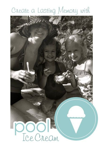 """{Eating Ice Cream in the Pool} What a great, but *simple* way to make a lasting memory with your kids. So cute. How are you taking advantage of these last few days before """"back to school"""" hits?!? :-)"""