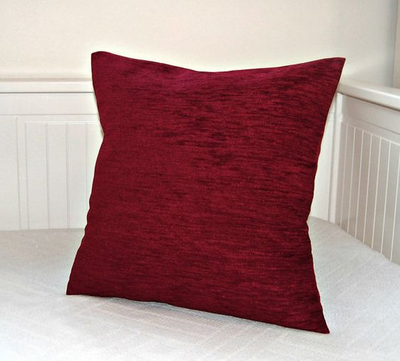 Dark red accent pillow cover, wine red cushion cover 18 inch