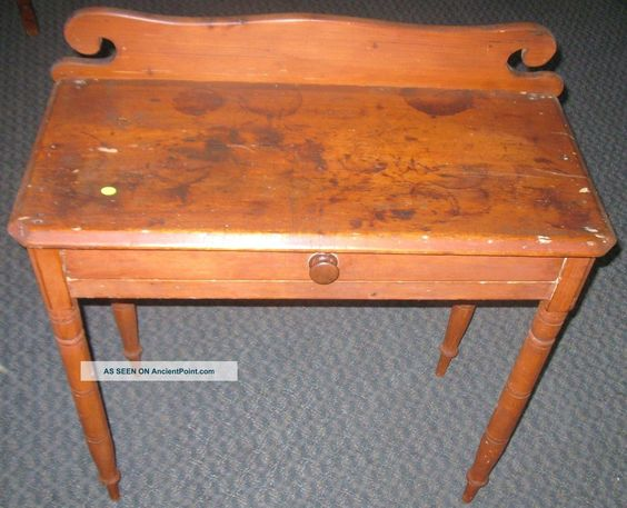 Primitive Pine Or Maple Hall Table Vanity Side Drawer Antique New England 1800-1899 photo