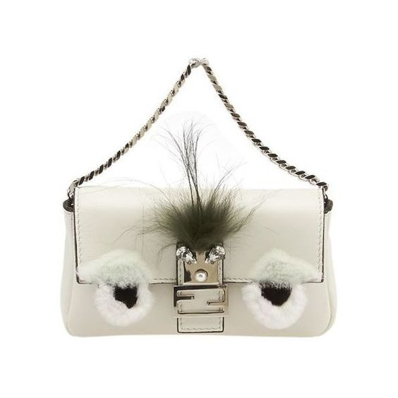 Pre-Owned Fendi Micro Monster 8m0354 Cream Lambskin Leather & Fur... ($1,705) ❤ liked on Polyvore featuring bags, handbags, shoulder bags, white, fur purse, fur handbags, white cross body purse, white shoulder bag and fox purse