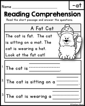 Reading Comprehension Passages - Word Families | Teaching, Word ...