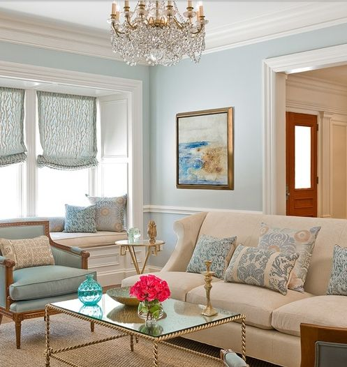 Duck egg and gold sitting room with original oil painting for Duck egg blue and grey living room ideas