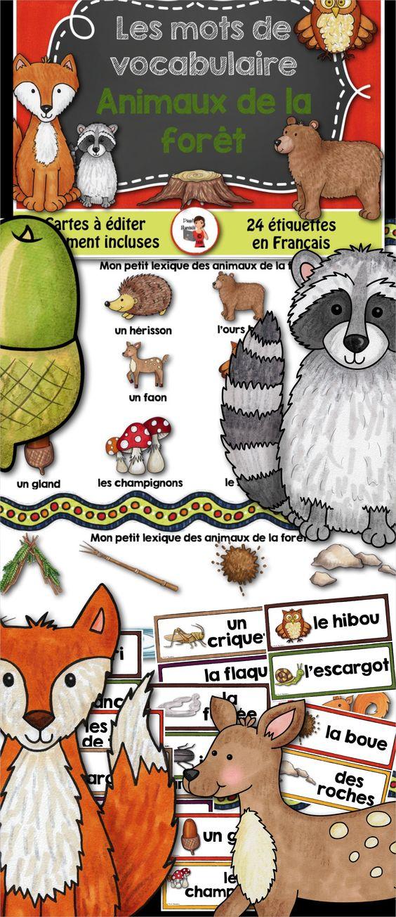 animaux de la for t 24 mots tiquettes script et cursif animaux and atelier. Black Bedroom Furniture Sets. Home Design Ideas