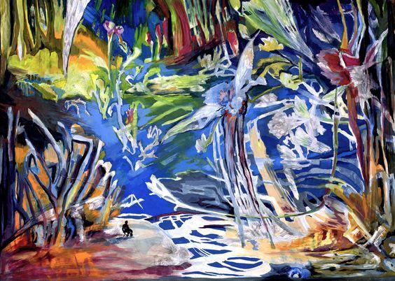 Gabriele Strehlau, Entspannung am Sonntag, Gouache auf Papier, 50 x 70 cm, 2010, 750 €
