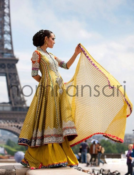 Yellow Gold Anarkali Lehnga
