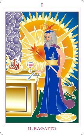 I. The Magician: El gran sol ilumina le mago en este tarot