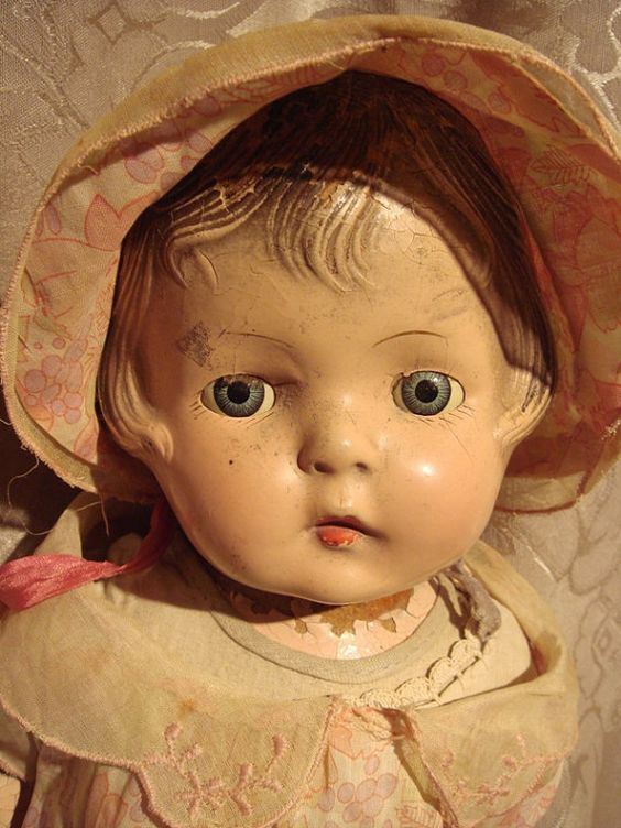 SWEET ANTIQUE DOLL Tin Sleep Eyes Old Dress by FineVintageGoods, $39.00
