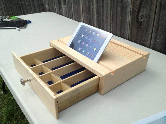Cash Drawer for phone or tablet resting in by SquareWoodProducts