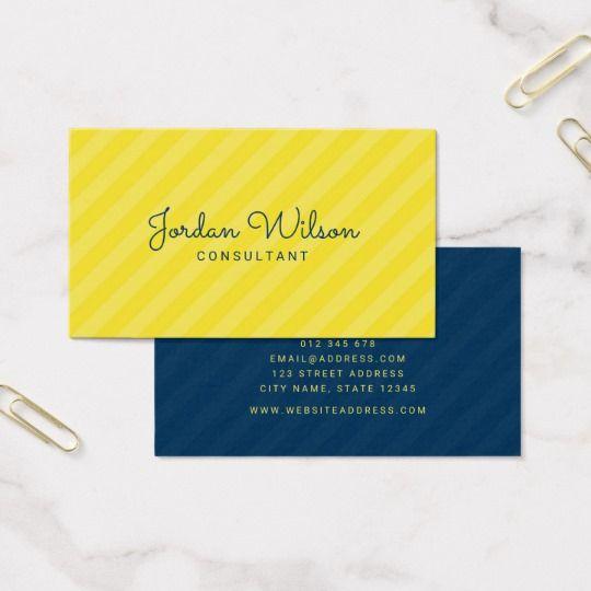 Stylish Modern Yellow And Blue Stripes Business Card Zazzle Com