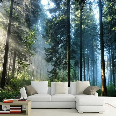 3d Forest Sunshine Through Trees Photo Print Wallpaper Mural In 2020 Tree Wallpaper Bedroom Bedroom Murals Wall Wallpaper