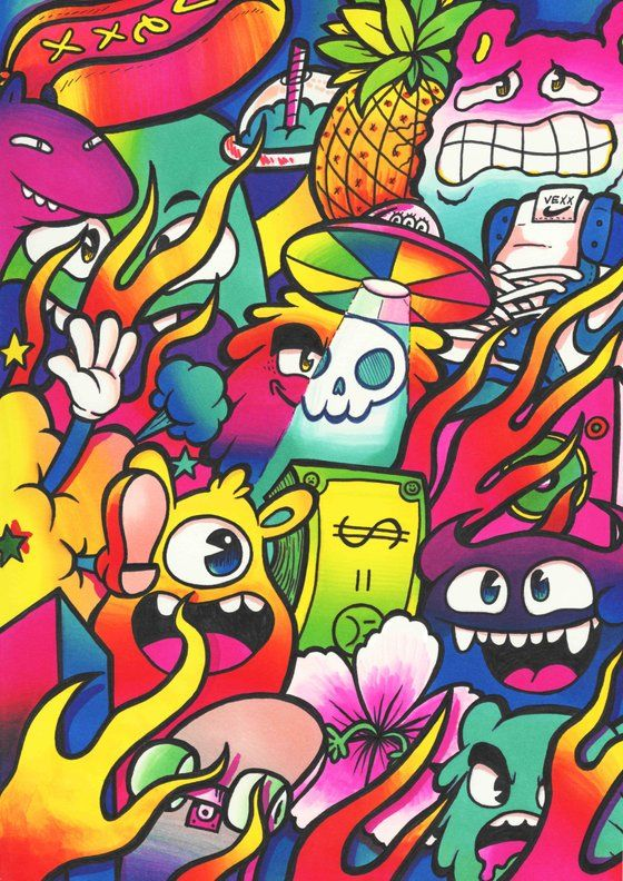 Image Of Happy Chaos Doodle Limited Edition Signed Embossed