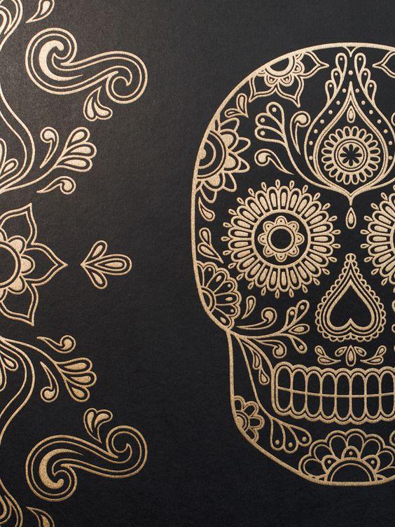 Mexican Day of the Dead Sugar Skull Wallpaper anatomyboutique.com