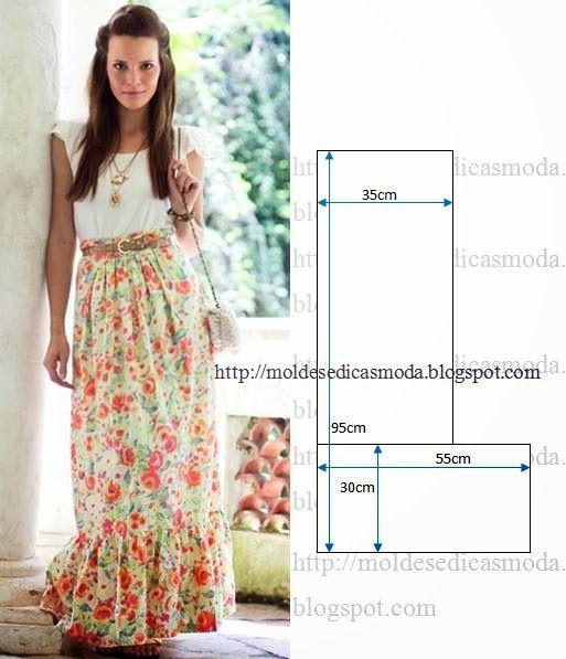 PASSO A PASSO MOLDE DE SAIA Corte uma altura de tecido com 65 cm para a parte superior. Corte duas vezes a altura do folho/babado da saia. Faça os acertos