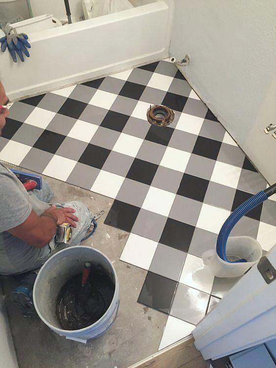 Plaid Floor Using Inexpensive Square Tiles Looks Like Black And White Buffalo Check Tile Pattern Buffalo Buffalocheck B In 2020 Floor Design Flooring Home Decor