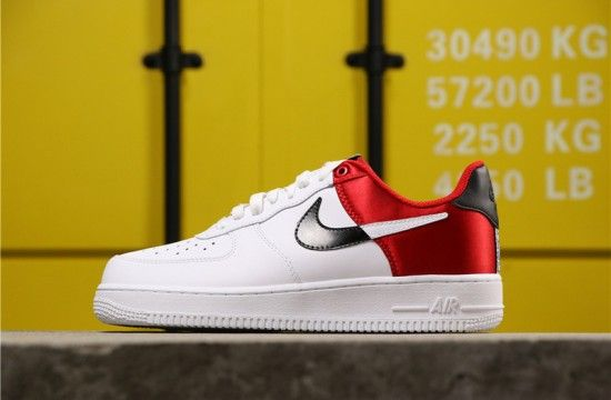 Nike Air Force 1 Low NBA White Black Red Satin BQ4420 600
