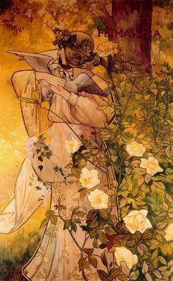 """Alexandre de Riquer (1856 -1920). """"Plafons decoratius de les quatre estacions: primavera, 1897"""". Tremp sobre tela. 176 x 114 cm. Col·l. particular. Barcelona. España.:"""