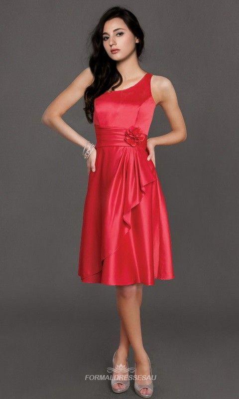 Red One Shoulder Satin Bridesmaid Dresses FDA0168