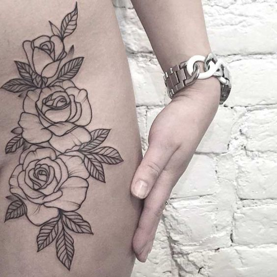 floral outline tattoo