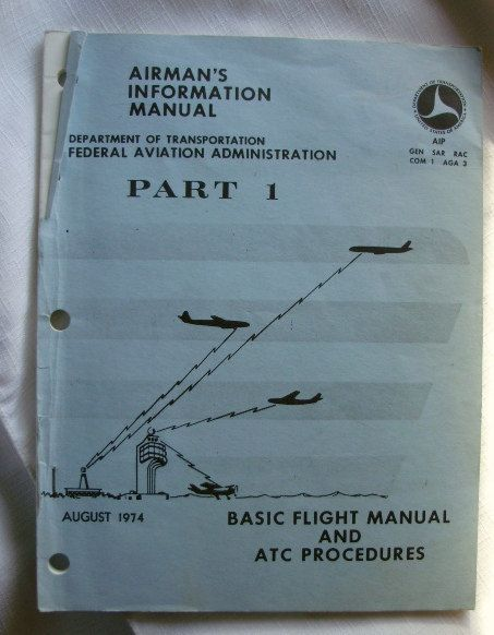 Vintage 1974 Obsolete Airman's Information Manual Part 1 DOT by RennerLaDifference on Etsy