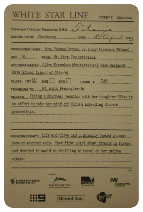 "Every visitor to the Titanic exhibition receives one of these. At the end of the exhibit you can check to see if your ""passenger"" survived."