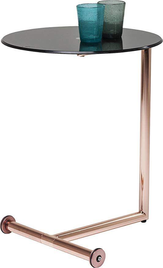 Kare Design Beistelltisch Easy Living Kleiner Runder Glastisch Mit Rollen Couchtisch Ablagetisch Kupfer H B T