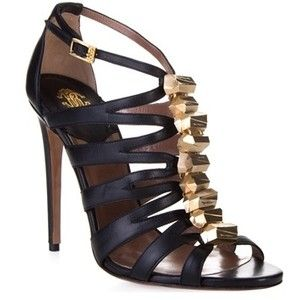 black woman shoe with gold crystals