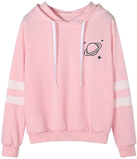 Womens Teen Girls Hoodies,Celestial Body Printed Striped Long Sleeve Sweatshirt Sport Jumper Hooded Blouse Zulmaliu #hoodies #sweatshirts #clothing