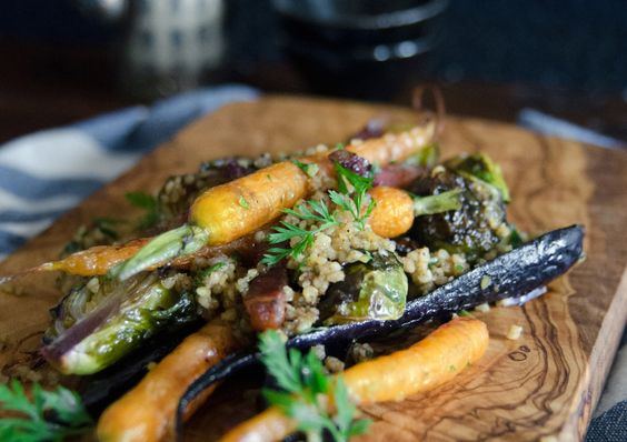Roasted heirloom carrots, brussels sprouts, spiced chestnut + millet crumble