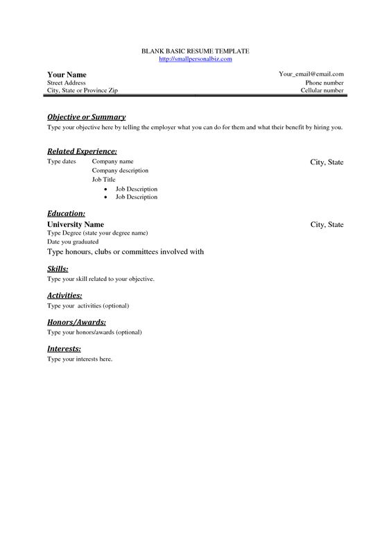 Basic Resume Outline Sample -    wwwresumecareerinfo basic - sample blank resume form