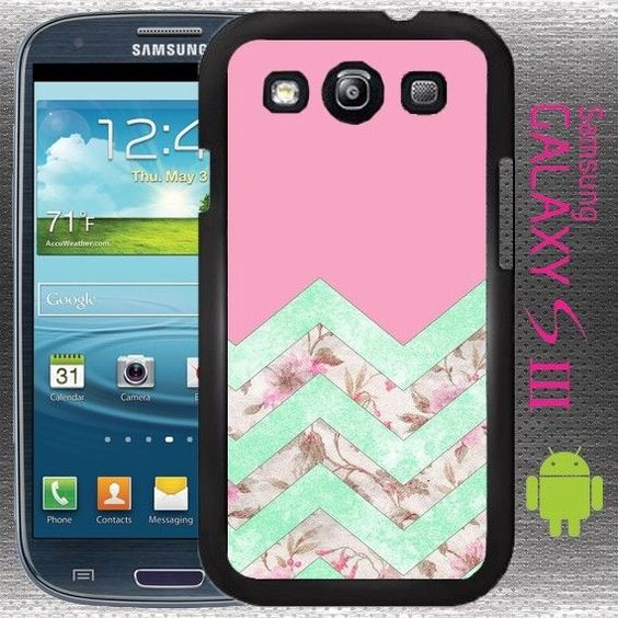 Light Pink Floral Chevron Galaxy S3 case Box Cover Girly Chick Vintage Blue #GizmoGear