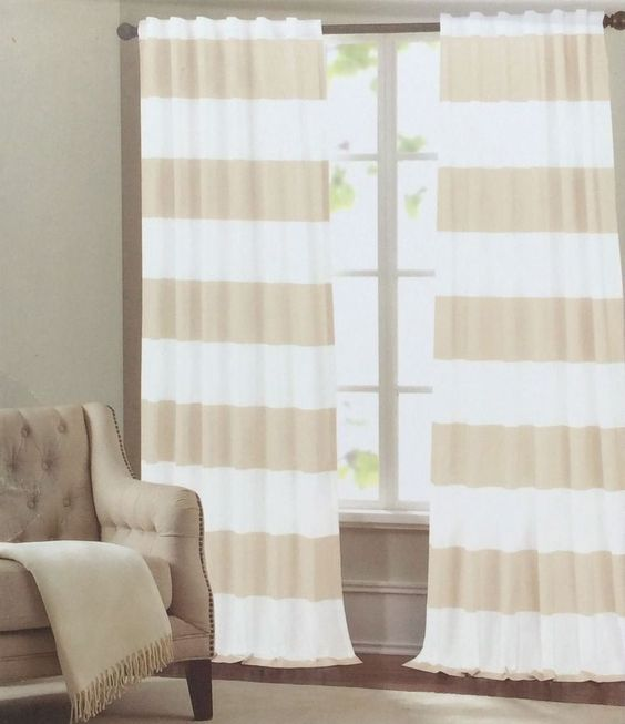 Curtains Ideas 86 inch curtain panels : Hillcrest Cabana Wide Stripe Two Window Curtain Panels 96inch ...