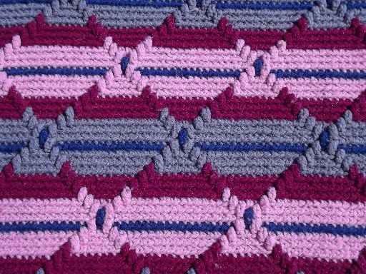 Crochet Navajo Stitch : Retro vintage crochet afghan, diamond stitch crochet striped blanket