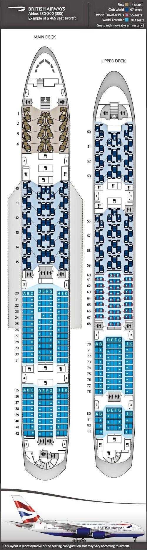 Airbus A380: British Airways, G-XLEA seating configuration.