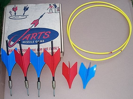 Jarts - I love Radar magazine's piece on this toy I used to play with as a kid. http://fuknus.chrisdamitio.com/existensis/uncategorized/the-10-most-dangerous-toys-of-all-time/   Am I the only person to think there should be a reissue of this killer toy? The Hunger Games edition!